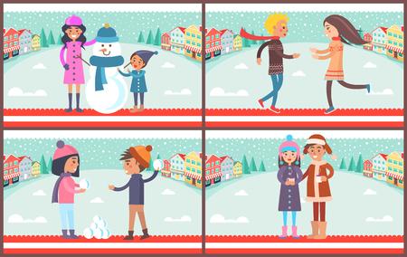 Mère et fils avec bonhomme de neige habillé en bonnet et écharpe, couple jouant à la bataille de boules de neige, garçon et fille avec une tasse de thé chaud, set vector illustration Banque d'images - 93383787