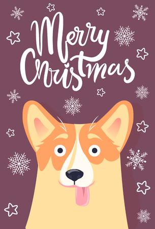 前景や雪片や星にぶら下がっている舌を持つメリークリスマスグリーティングカードかわいい犬、リリアックの背景、ベクトルイラスト  イラスト・ベクター素材