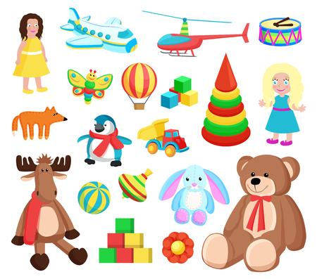 Giocattoli alla fabbrica di Babbo Natale, set di icone di barbie, renne e orsacchiotto, palle e cubi, fiori e farfalle illustrazione vettoriale