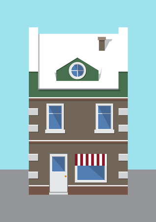 Building covered with snow, traditional vision of house with big windows, chimney and entrance, street and sky, isolated on vector illustration