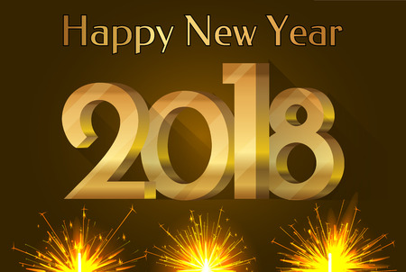 Happy New Year 2018 placard with number and headline and glowing fires below, greetings with winter holiday, isolated on vector illustration