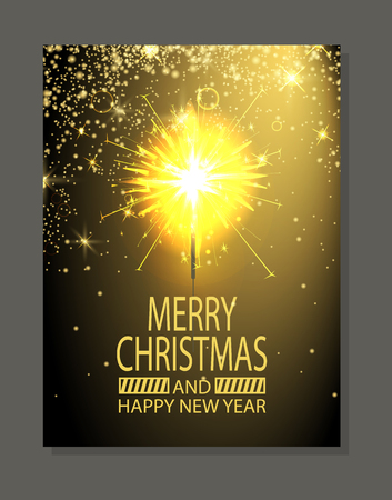 Merry Christmas and happy New Year poster, headline and fire produced by Bengal light, vector illustration isolated on gold and black background