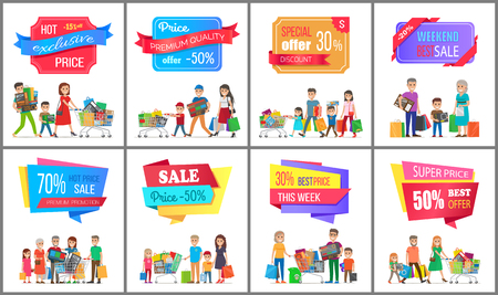 Set of hot prices special offer promotions banners, vector illustration with advertising messages isolated on colorful stickers with bright ribbons