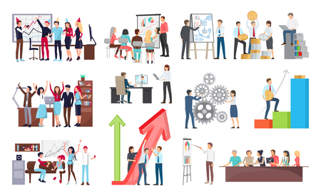 Success at work and its celebration, growth shown on interactive board and people at meeting listening to presentation vector illustration