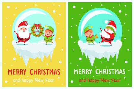 ポストカードメリークリスマスハッピーニューイヤーサンタエルフ  イラスト・ベクター素材