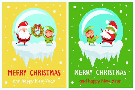 Postcard Merry Christmas Happy New Year Santa Elf