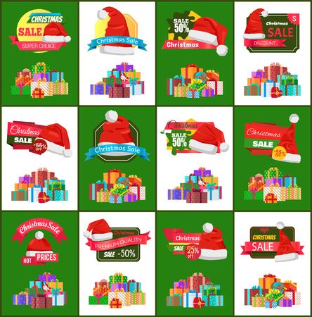 Big Set of Christmas Discounts Vector Illustration