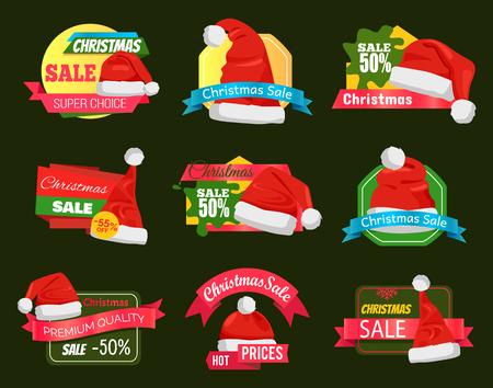 ショッピングラベル上のサンタクロースの帽子の偉大な多様性、広告情報と割引パーセントは緑のベクトルエンブレムを設定したプロモーションス