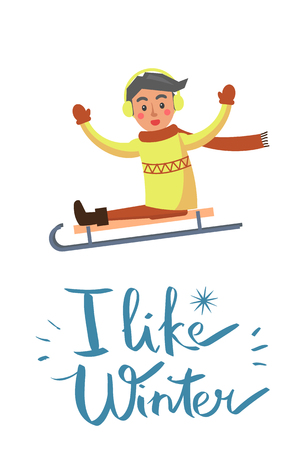 I like winter, placard with headline of blue color with lines and boy wearing long scarf and sweater, sitting on sled isolated on vector illustration