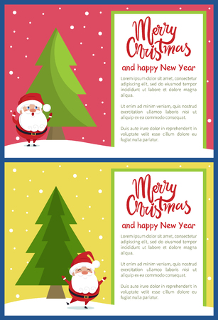 Merry Christmas and Happy New Year poster with Santa singing songs and merrily walk near Xmas tree on snowy backdrop vector illustration banners set Illustration