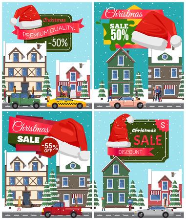 Christmas Sale Set of Posters Vector Illustration Illustration