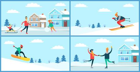 Winter Sport and Activities Vector Illustration Vettoriali