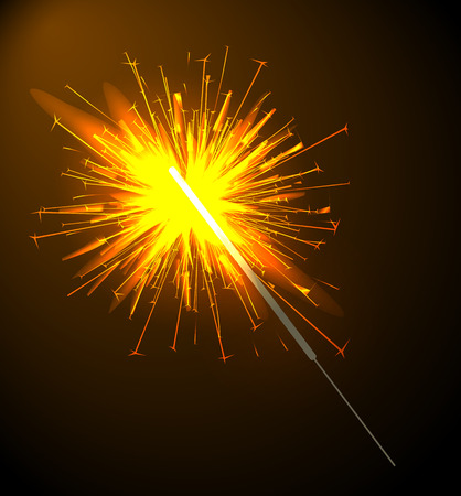 Sparkler on stick poster, Bengal light fired up, symbolic object during celebration of New Year, vector illustration isolated on black and golden background.