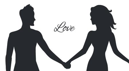 커플 자세로 묘사 된 남자와 여자의 사랑