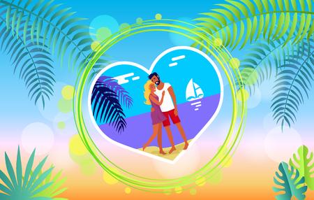 Lovely Hugging Couple on Summer Beach Romance Banner