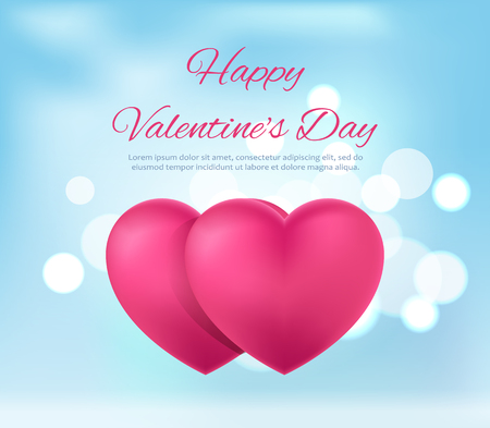 Happy Valentine s Day Postcard Vector Illustration