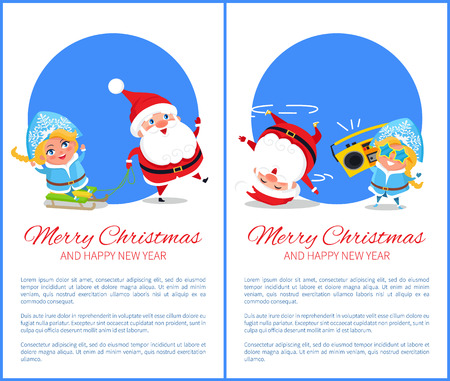 Merry Christmas and Happy New Year posters with Santa and snow maiden listening to music, dancing on head, riding on sleigh vector cartoon characters.