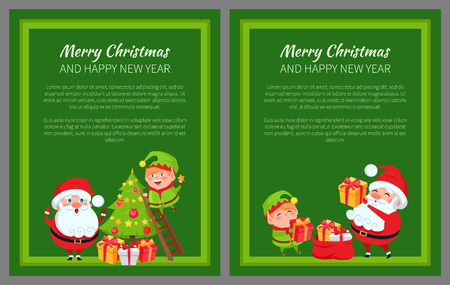 Merry Christmas New Year Poster Santa and Elf