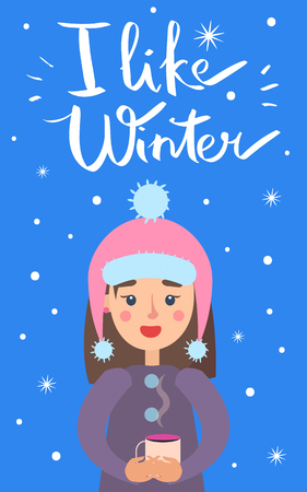 I Like Winter Girl Snowflakes Vector Illustration Ilustração