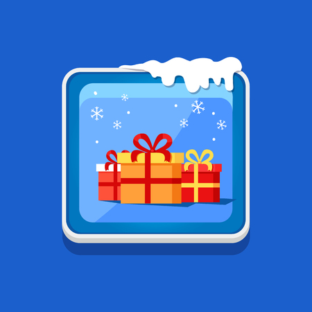 Festive Button with Presents Vector Illustration