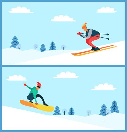 Skier and Snowboarder Set, Vector Illustartion