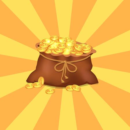 Brown Pocket with Golden Coins Vector Illustration