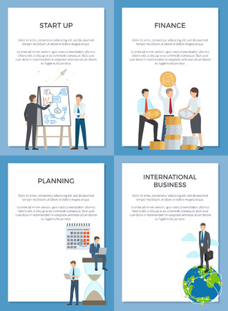 Startup planning finance international business set of banners. Vector of employees with coins and hourglass and man standing on Earth globe