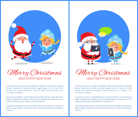 Merry Christmas and happy New Year, images of Santa Claus and Snow Maiden jumping together, chatting characters isolated on vector illustration