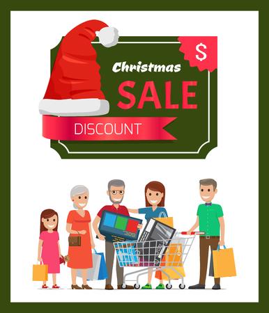 Discount Christmas Sale Poster Vector Illustration Illustration