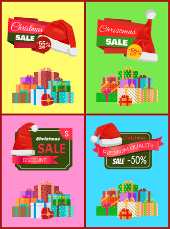 Christmas Holiday Posters Set Vector Illustration Illustration