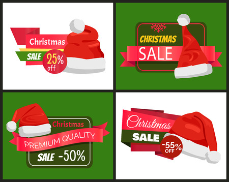 Set of Christmas holiday sale posters with Santa Claus hat and lettering on colorful tags with different shapes for badges, vector illustration.