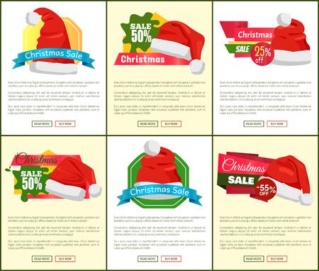 Reeks de verkoopaffiches van de Kerstmisvakantie met Santa Claus-hoeden op kleurrijke achtergrond voor webshop op witte en gele achtergrond, vectorillustratie.