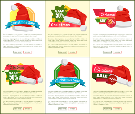 Set of Christmas holiday sale posters with Santa Claus hats on colorful background for web shop on white and yellow background, vector illustration. Illustration