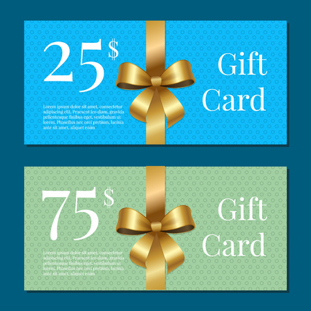 Festive gift cards for 25 and 75 dollar purchases at shop or beauty salon with gold ribbon and bows isolated vector illustration on blue background. Vettoriali