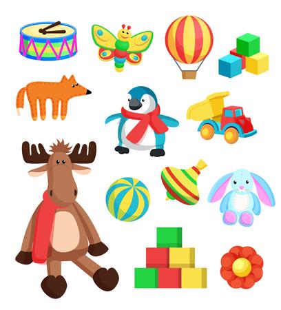 Toys for Children at Christmas Vector Illustration