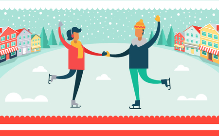 Man and Woman Ice-skating Vector Illustration