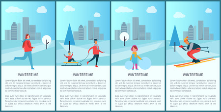 Wintertime collection and city view, buildings and clouds, trees and people skiing and skating, kid sitting on sled, girl and ball vector illustration
