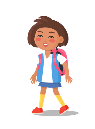 Schoolgirl in uniform in blue and white colors with backpack isolated. Cartoon female character, first year pupil vector illustration in flat style Illustration