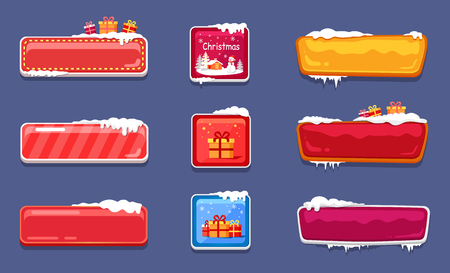 Set of Christmas holiday badges with presents and stars in square and rectangle frames witn snow isolated on liliac background vector illustration Illustration