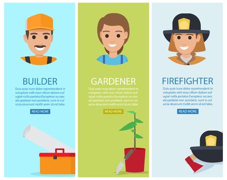 Builder, Gardener and Firefighter Vector Banners Illustration