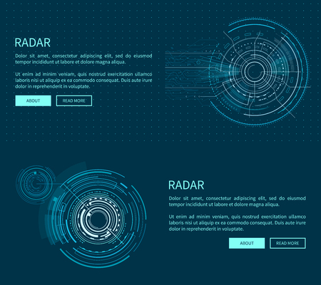 Radar Layout with Many Figures Vector Illustration Vectores