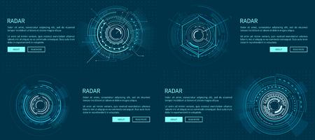 Set of Exact Radar Templates Vector Illustration  イラスト・ベクター素材