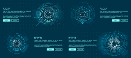 Set of Exact Radar Templates Vector Illustration Ilustrace