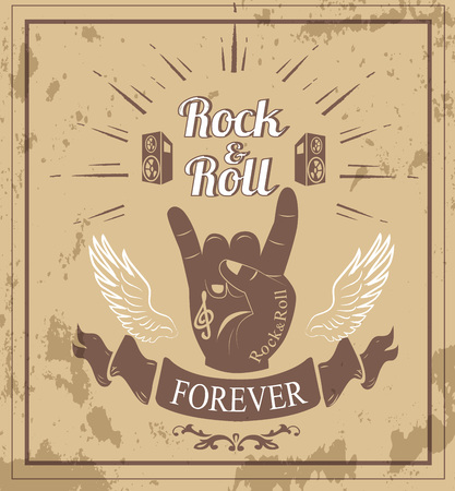 Rock n roll forever, hand gesture well-known as horns, white wings, two loudspeakers and ribbon vector illustration isolated on sandy Ilustracja