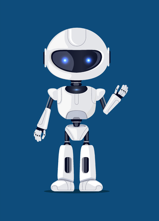 Robot waving and greeting someone, artificial creature, made up of metal and plastic, robotic object with shining blue eyes vector illustration