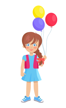 Brunette doll like girl with air balloons vector illustration isolated on white. Cute cartoon kindergarten age female with thick braid