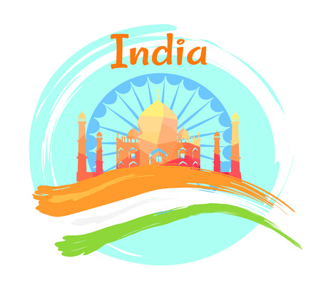 Independence Day of India on 15th of August poster with Taj Mahal and national flag. Vector illustration of marble mausoleum jewel of Islamic architecture. 向量圖像