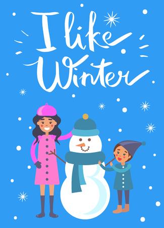 Ich mag Winterplakat mit der Mutter und Kind, die die Schneemannvektorillustration lokalisiert auf Schnee machen. Mutter und Sohn in der Nähe von lustigen Winter Kreatur aus Eis Standard-Bild - 93480402