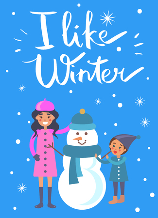 I like winter poster with mother and child making snowman vector illustration isolated on snow. Mom and son near funny winter creature made of ice