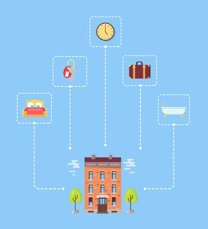 Ensemble d & # 39 ; icônes ci-dessus hôtel avec des arbres illustration Banque d'images - 93482715